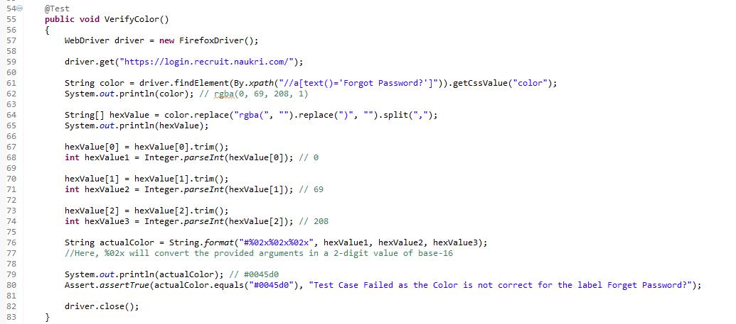 Verify Colour of Elements using Selenium WebDriver - Naukri